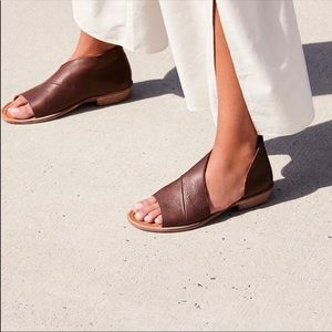 FREE PEOPLE Mont Blanc Cocoa Brown Leather Sandal